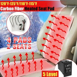 4x Car Seat Carbon Fiber Heated Cushion Seat Heater Pad 5 Level Switch Kits 12v