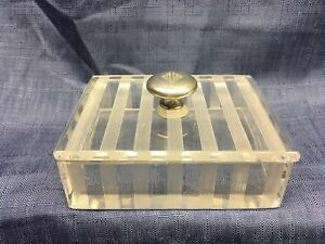 Antique Hawkes Cut Glass Box With Sterling Handle