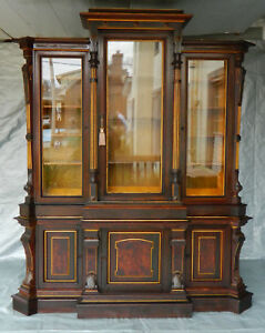 Fantastic Rosewood Victorian Renaissance Triple Door Bookcase Display Cabinet