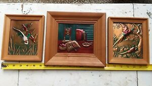 Vtg R Dehl Copper Craft Usa Wall Art Mcm Mid Century Mini Frame Cabin Metal 70s