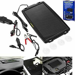Goodyear Solar Power Car Caravan Battery Trickle Charger Cigarette Lighter Obd