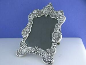 Wonderful Sterling Gorham Picture Frame Ornate Floral Rose Scroll Pattern