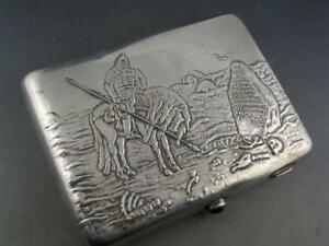 Russian 84 Silver Cigarette Case W Warrior Horse Scene Crossroads 7 16 Troy