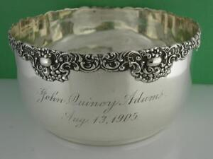 Sterling Unger Brothers Bowl Art Nouveau John Quincy Adams August 13 1905