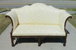 Gorgeous Chinese Chippendale Double Peaked Sofa Settee 19th Century