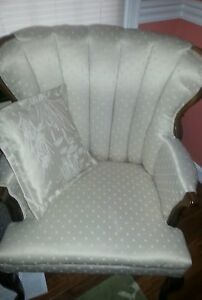 Chair Creme White Silk Damask Victorian Gorgeous Shabby Chic French Country