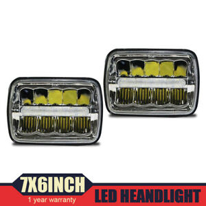 1 Pair 7x6 5x7 Dot Fcc Led Sealed Beam Black House Headlight H6052 H6054 H6014