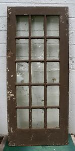 36 X83 Antique Vintage Oak Wood Exterior Entry French Door Window Beveled Glass