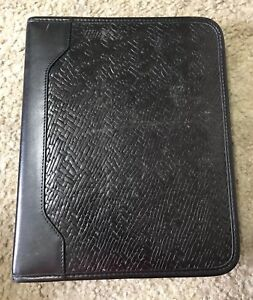 Franklin Quest Covey Woven Embossed Classic Black Full grain Leather Planner