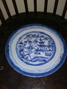 Antique Blue White Canton Chinese China Late 19th Century Plate