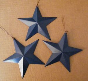 3 Americana Country Blue Primitive 5 5 Tin Metal Barn Star Decor Stars Sign