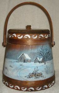 Old Wood Fricken Repo Bucket Handpainted Farm Barn Wagon Trees Primitive Vintage