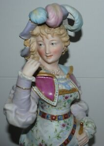 Antique Bisque Porcelain French Woman In Hat Figurine Large 17 5