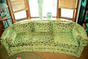 Mcm Retro Mid Century Vintage Lounge Couch Pristine Green White Floral Flowers