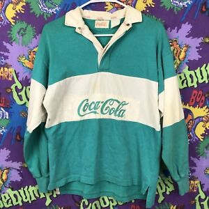 Coca Cola Vintage 80s Long Sleeve Aqua Green Blue Sweater Polo RARE SMALL #2U