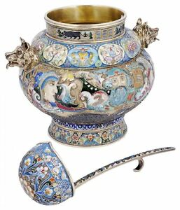 An Enamelled Silver Gilt Bowl And Ladle Russian Style