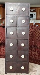 Vintage Apothecary Cabinet 12 Drawers 30 Tall Wood Multi Drawer Cabinet