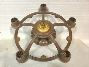 Antique Cast Iron Ceiling Light Fixture 5 Outlets Restored 16 Round Very Nice
