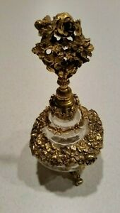 Large Antique Vintage Glass Ormolu Gilt Plated Perfume Bottle W Stopper
