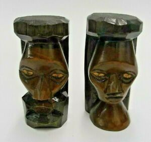 Lot Of 2 Hand Carved Wood Wooden Face Figures 3 5 Tall Man Woman Folk Art