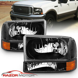 99 04 F250 f350 f450 f550 Super Duty 00 04 Ford Excursion Black Headlights Pair
