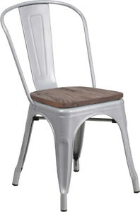 Silver Metal Stackable Bistro Chair With Walnut Finish Wood Grain Seat