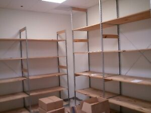 Backroom Shelving 18 Wood Lot 30 Warehouse Storage Shelves Used Store Fixtures