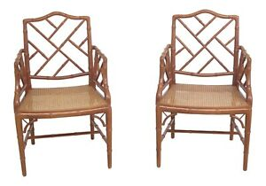 30677ec Pair Faux Bamboo Style Cane Seat Arm Chairs