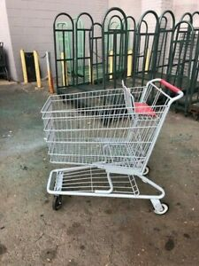Shopping Carts Gray Metal Lot 8 Full Size Medium Discount Store Fixture Red Grey