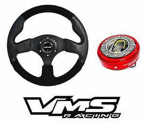 Vms Racing Italia Leather Suede Steering Wheel Quick Release Red For Mazda