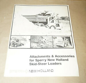 Sperry New Holland Attachments Accessories Skid steer Loaders Operators Manual