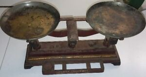 7 Henry Troemner Cast Iron Brass Balance Scale Red Gold Trim Trays Philadelphia