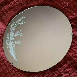 Vintage 1930 S 1940 S Art Deco Round Etched Wall Mirror Lilies Of The Valley