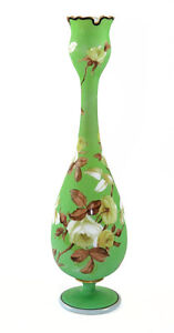 Mid 19th C French Opaline Footed Vase Matte Painting Crenulated Rim 9159