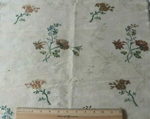Antique French 18thc Floral Lace Silk Brocade Fabric Yardage C1760 38 X19