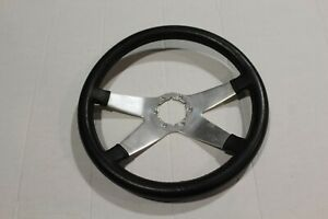 1963 1967 Corvette 14 Polished Alumnium 4 Spoke Black Leather Steering Wheel