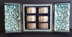 Antique Silver Set Of 6 Fluted Napkin Rings In Original Satin Lined Case