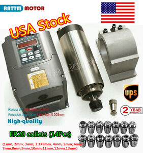 usa 2200w Er20 Air Cooling Spindle Motor Cutting Wood 2 2kw Inverter 14x Collet