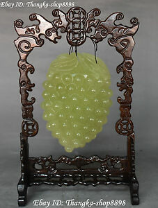 11 Unique Chinese Natural Green Jade Carving Grapevine Grape Grapes Vine Statue