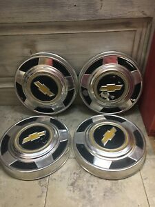 1970 S 1980 S Vintage Vtg Set Of 4 Chevy Chevrolet Truck Dog Dish Hub Caps 10 5