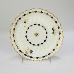 Antique 18c Flight Worcester Porcelain Ribbed Plate English Cobalt Blue Pc