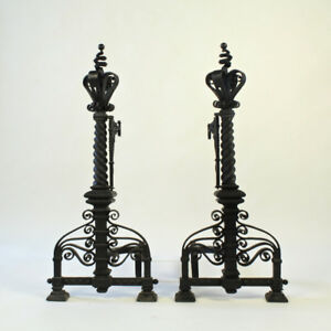 Pair Of Very Large Arts Crafts Wrought Iron Fireplace Andirons Twisted Vr