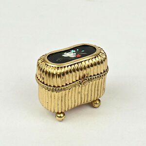 Small Victorian Gilt Metal Dresser Or Ring Box With A Pietra Dura Plaque Vr