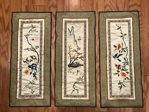 Vintage Silk Handmade Chinese Embroidery Panel Pagoda Birds Flowers Set Of 3