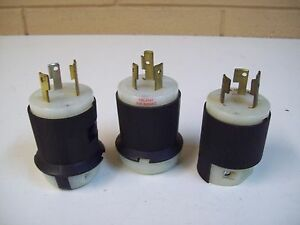 Hubbell 231a 30a 250v Receptacle Assorted Plugs Voltage Amps Lot Of 3 Used