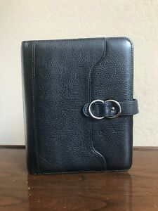 Franklin Covey Classic Black Full Grain Leather Planner Binder Paisley Buckle