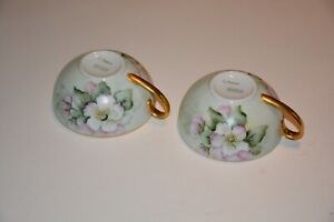 Lot Of 2 Antique Hand Painted German China Tea Cups And 3 Matching Saucers