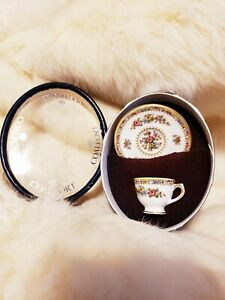 Miniature New In Gift Box England Est 1750 Bone China Tea Cup Saucer Ming Rose
