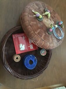 Vintage Antique Chinese Wicker Sewing Basket W Beads Coins W Antique Spools