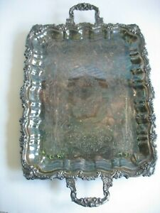 Vtg Silverplate Silver On Copper Footed Handled Serving Tray Lrg 25 X 16 Shell